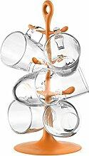 Bodum K2110-948-Y17 Set Becherbaum (mit 6 Glastassen, 10,5 x 7,5 x 9 cm) orange