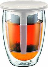 Bodum TEA FOR ONE Teeglas mit Kunststofffilter (Doppelwandig, Isoliert, 0,35 liters) cremefarben