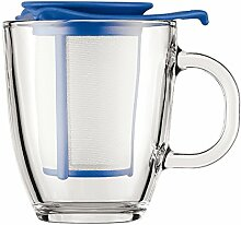 Bodum YO-YO SET Glastasse mit Kunststofffilter, 0.35 l blau