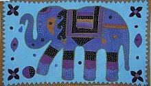 Böhmische indische Stickerei, 100% Baumwolle, Patchwork-Elefant Wandbehang Gobelin, Esszimmer, dekorative Tischdecke Room Decor, 34 x 58 cm.