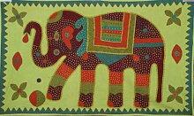 Böhmische indisches Patchwork, bestickt, 100% Baumwolle, Green Elephant Wandbehang Tapisserie, Esszimmer, Art, Deko-Tischdecke, 34 x 58 cm