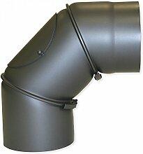 Bogenknie Ø150x300x2mm 90° gussgrau Senotherm mit Tür Ofenrohr Kaminrohr Kamin