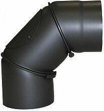 Bogenknie Ø150x300x2mm 90° schwarz Senotherm mit Tür Ofenrohr Kaminrohr Kamin