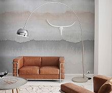 Bogenlampe Big-Deal Deluxe Silber dimmbar Betonfuß