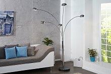 Bogenlampe FIVE LIGHTS mit schwarzem Marmorfuß