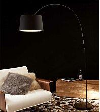 Bogenlampe in Schwarz Metall und Marmor