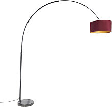 Bogenlampe schwarz Veloursschirm rot mit Gold 50