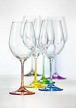 Bohemia Cristal 6 Weingläser Rainbow bunt sortiert, 350 ml (350 ml)