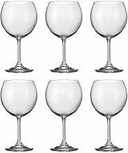 Bohemia Crystal-Kiara, Weiß/Rot, 460ml, 16,1, ideal für Partys, 6Stück