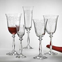 Bohemia Crystal Weinglas, Weinkelch 250 ml Romance (Angela) 6-er Set mit Gravur
