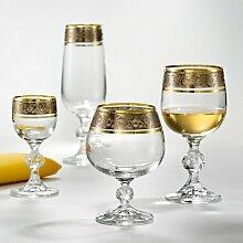 Bohemia Exclusive Crystal Wein Gläser Claudia mit Silbergravur und goldenen Rand, 230 ml, 6 - er Se