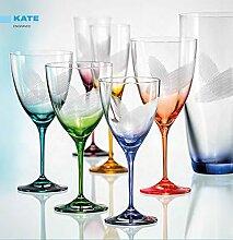 Bohemia Kristall Weingläser KATE 250 ml mit Gravur und bunt sortiert, 6 - Se