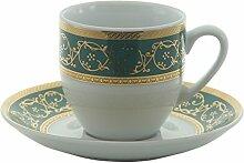 Bohemia Saphyr Greca Kaffee-Tasse und Untertasse,