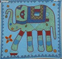 Bohemian indischen bestickt Patchwork 100% Baumwolle Blau Elefant Wandbehang Wandteppich, Tischdecke, Tischläufer Topper Ethic Decor Art, 81,3x 81,3cm