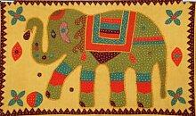 Bohemian indischen bestickt Patchwork 100% Baumwolle Elefant Wandbehang Wandteppich, dekorative Tischdecke, Tischläufer, 86,4x 147,3cm.