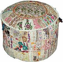 Bohemian Patchwork Pouf Polsterhocker, Wohnzimmer Pouf, handgefertigt aus Baumwolle osmanischen Pouf, Vintage indischen Pouf, Pouf, Sitzkissen, Fusshocker, rund Pouf Polsterhocker, Sitzsack, Boden Kissen osmanischen Pouf, 45,7x 33cm. Von bhagyoday
