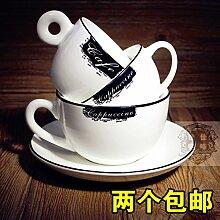 BOHNR-Cappuccino Tasse Kaffee Tasse Kaffee Tasse Schwarz klassische Keramik Becher, J
