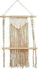 Boho-Chic Holz-Makramee Einzelregal gewebte Perlen