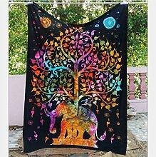 Boho-Wanddecke, mit verschiedenen Designs, geeignet als Picknickdecke/Bettüberwurf/Vorhang/Dekoration/Tischdecke/Strandtuch/Yoga-Matte, a, M