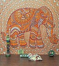 Boho-Wanddecke, mit verschiedenen Designs, geeignet als Picknickdecke/Bettüberwurf/Vorhang/Dekoration/Tischdecke/Strandtuch/Yoga-Matte, R, M