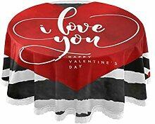 BOLIMAO Tischdecke mit rotem Herz-Streifen,