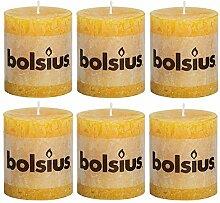 bolsius Stumpenkerze 80/68 Rustik 6er Pack/viele