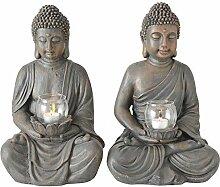 Boltze 2er Set Buddha Figur mit Windlicht Feng