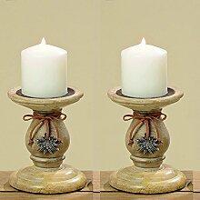 Boltze 2er Set Kerzenleuchter Imst mit Edelweiß 15 cm