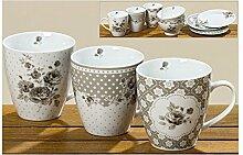 Boltze Jumbobecher 3 Stück Tassen Set braun weiß Blümchen 400 ml