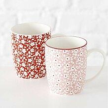 Boltze Kaffeebecher Fleuri h 10 cm Set mit 2 Stück