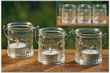 BOLTZE Teelichthalter 3er Set Glas−Windlichter