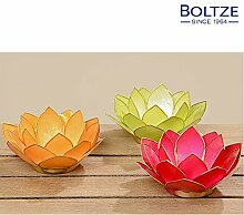 Boltze Windlicht FLOWER 3-tlg. Set Ø 12 cm