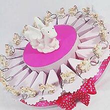 Bomboniere Geburt Taufe für Mädchen Einhorn Schlüsselanhänger marmoriert torta 20 fette