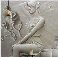 Bomdow 3D Mädchen Tapete Wandbild Hd Gedruckt