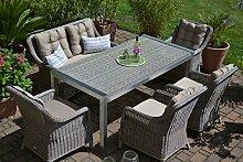 bomey Gartenmöbel Set Tisch, Bank und 4 Sessel
