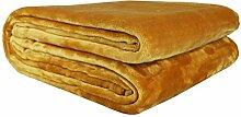 Bon Enjoy® Kuscheldecke Tagesdecke Wohndecke Decke Microfaser Fleecedecke Wolldecke Samt Gelb 220cm*240cm