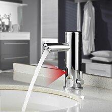 BONADE Infrarot IR Sensor Wasserhahn Bad Armatur Automatik Kalt + Warmwasser Mischbatterie Einhandmischer für Badezimmer