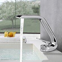 BONADE® Wasserfall Einhandmischer Waschtischarmaturen Wasserhahn Bad Armatur für Badezimmer Waschbecken, 59 Kupfer, Chrom