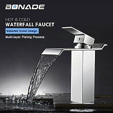 BONADE Wasserhahn Wasserfall Waschtischarmatur Einhebelmischer Bad Armatur für Badenzimmer Waschbecken