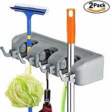 bonanic 2Pack Mop und Besen Aufhänger Halter, Wand montiert Garten Werkzeug Organisation Aufbewahrung rack-3Position 4Haken für Ihr Zuhause, Schrank, Küche, Garage und Schuppen (grau)
