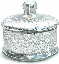 Bonboniere Glasdose mit Deckel Dose Silber antik