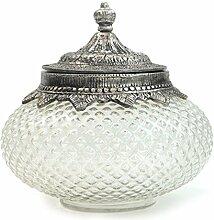 Bonboniere Glasdose mit Deckel LITSCHI Dose silber antik Vintage