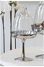 Bonboniere, Glasglocke auf Fuß COMBI H. 27cm D. 12,5cm silber klar Casablanca (24,95 EUR / Stück)