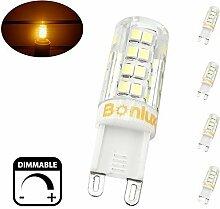 Bonlux 4-Packs 4W Dimmbare G9 Capsule LED-Glühlampe Warmweiß 3000K 220V-240 Volt 40W Halogen-Equivalent Bi Pin G9 LED-Mais-Lampe für Leuchter-Beleuchtung, Schrankbeleuchtung , Deckenleuchte Ventilator, Landschaftsbeleuchtung