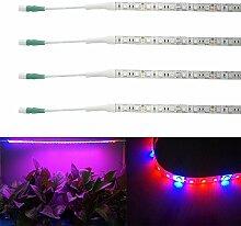 Bonlux 4-Packs 60MM wasserdichte LED wachsen flexibles Streifen-Licht 12V Rot Blau 3: 1 Full Spectrum 5W LED-Anlage Streifen-heller Stab für Gartengewächshaus blühende Pflanze Hydroponiksystem