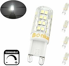 Bonlux 4-Packs Dimmbare 4W G9 Capsule LED-Glühlampe Kaltweiß 6000K 220V-240 Volt 40W Halogen-Ersatz 360 Grad LED G9 Corn Lampe für Leuchter-Beleuchtung, Schrankbeleuchtung , Deckenleuchte Ventilator, Landschaftsbeleuchtung