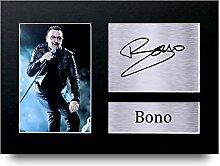 Bono unterzeichnet A4gedrucktem Autogramm U2Rock Music Print Foto Bild Display–tolle Geschenkidee