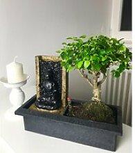 Bonsai-Baum mit dekorativem Buddha-Wasserfall
