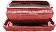 Bonsai-Schale mit Unterteller Gr. 2 - rechteckig