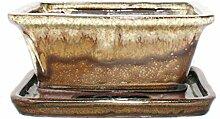Bonsai-Schale mit Unterteller Gr. 2 - Sonderglasur